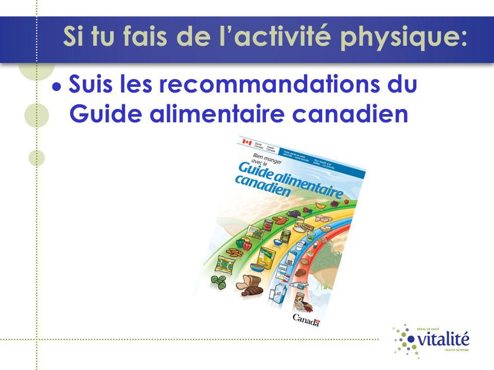 Si tu fais de l'activité physique:
