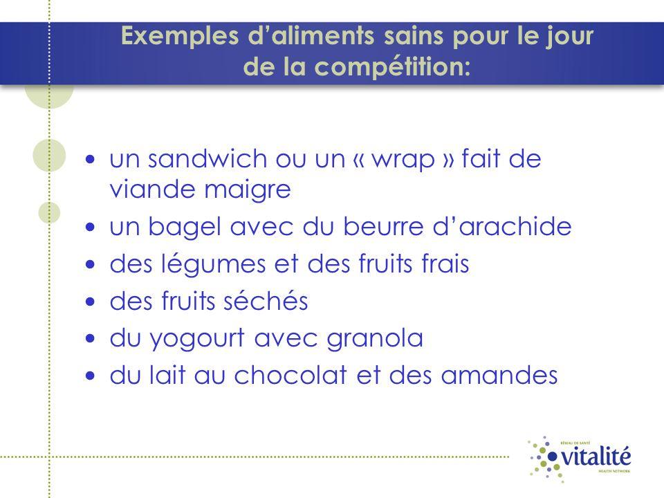 Exemples d'aliments sains pour le jour de la compétition: