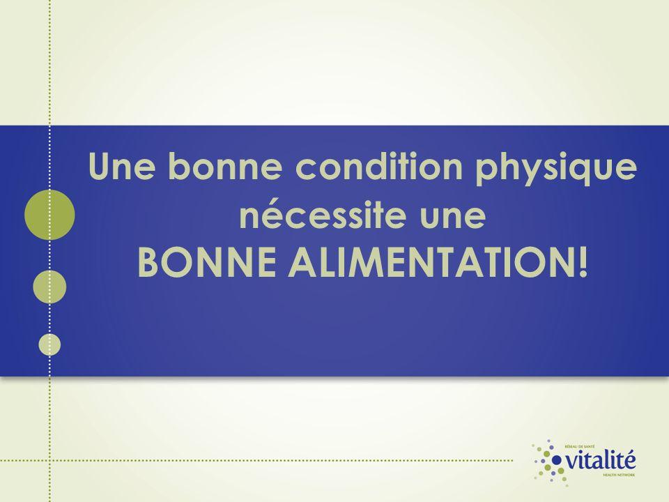 Une bonne condition physique nécessite une BONNE ALIMENTATION!