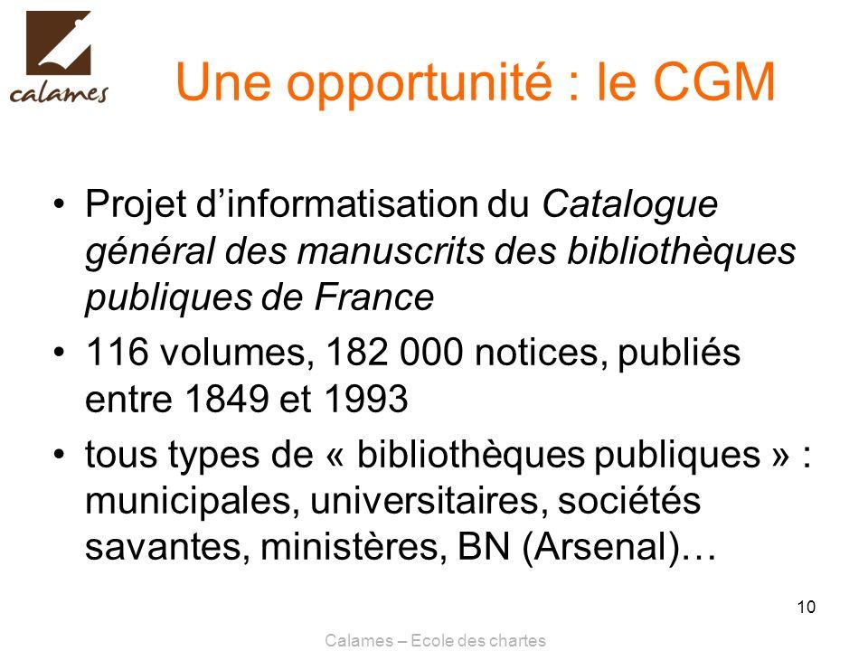 Une opportunité : le CGM