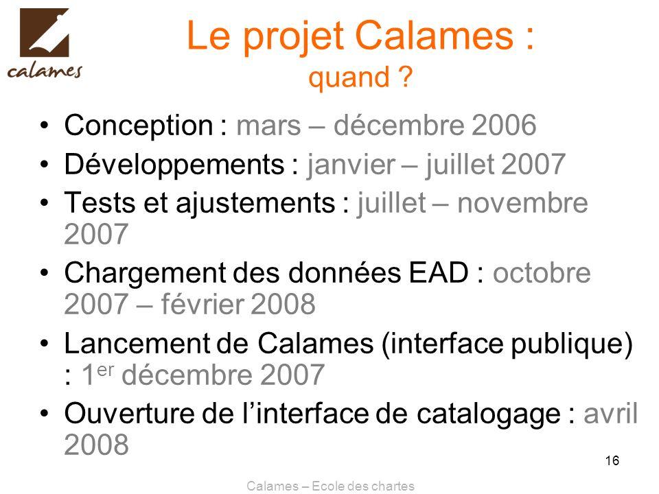 Le projet Calames : quand