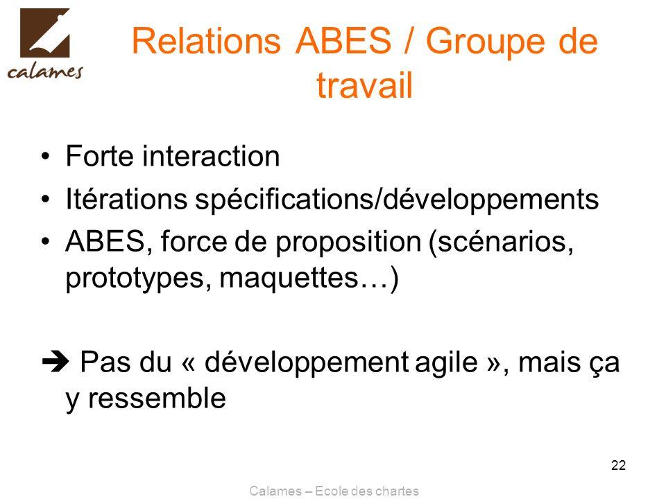 Relations ABES / Groupe de travail
