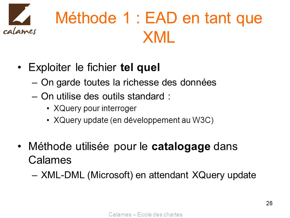 Méthode 1 : EAD en tant que XML