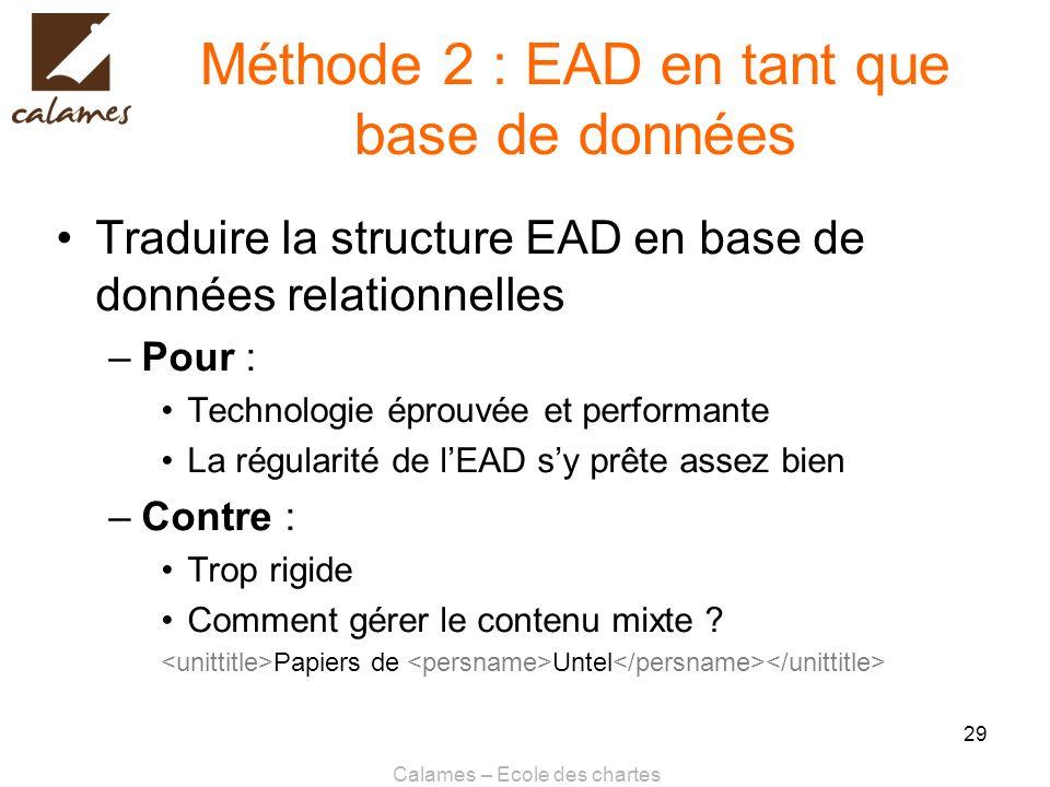 Méthode 2 : EAD en tant que base de données
