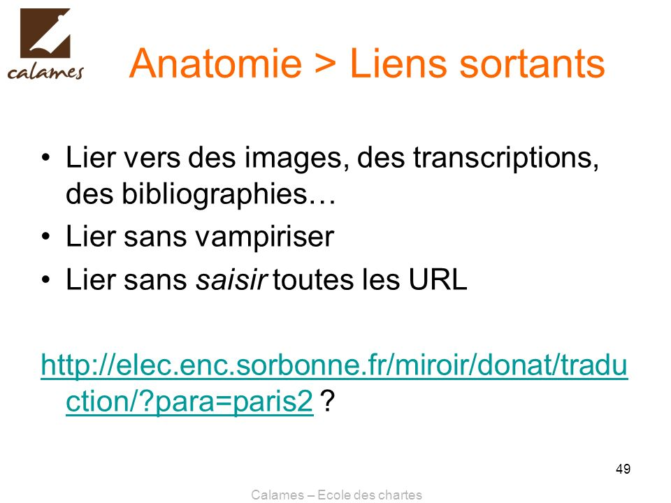 Anatomie > Liens sortants