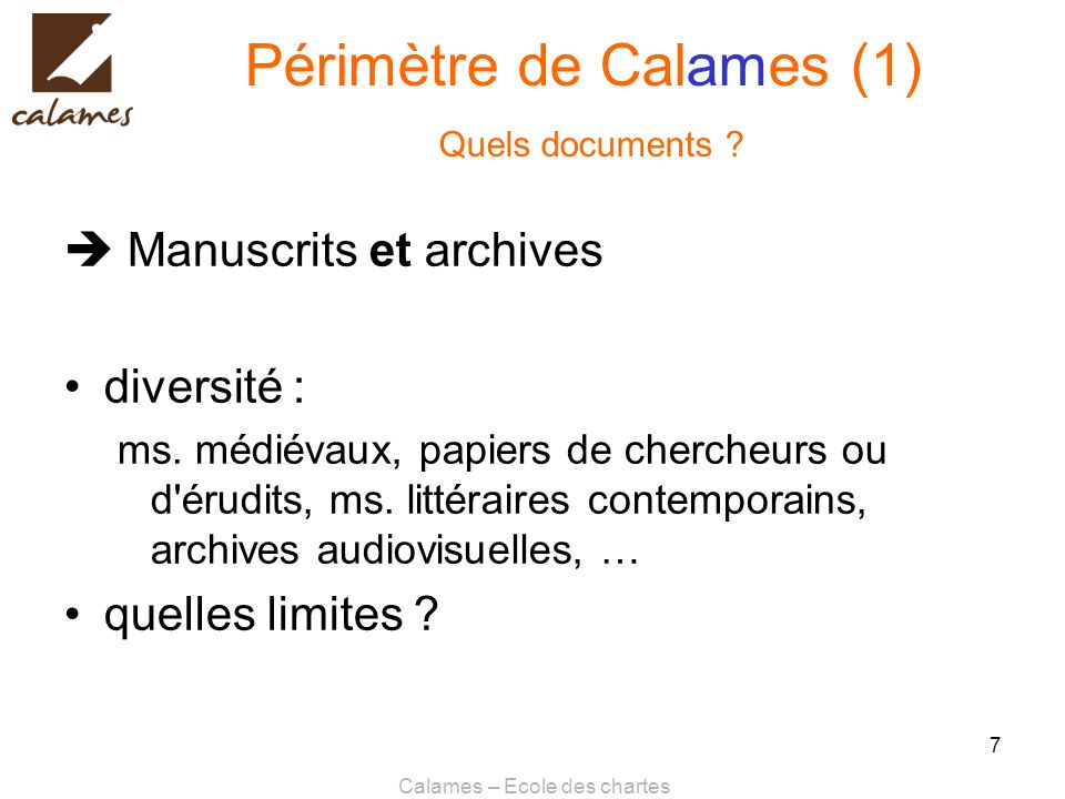 Périmètre de Calames (1) Quels documents