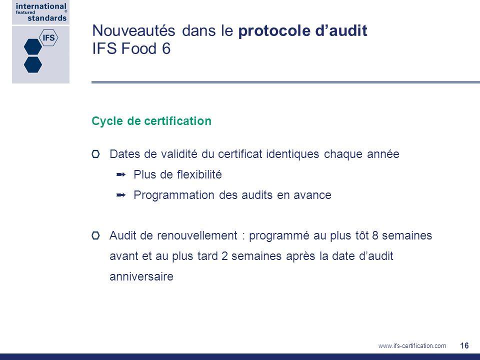 Nouveautés dans le protocole d'audit IFS Food 6