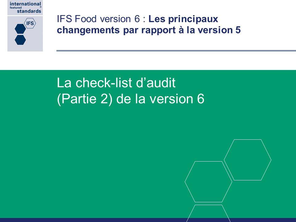 La check-list d'audit (Partie 2) de la version 6