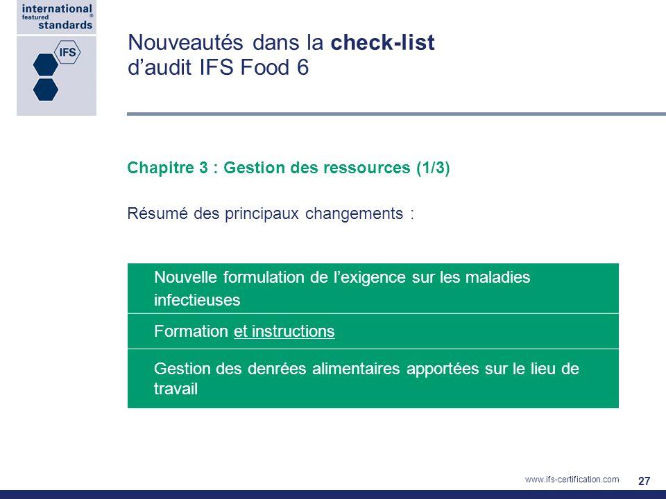 Nouveautés dans la check-list d'audit IFS Food 6