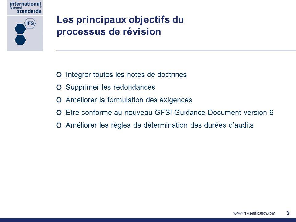 Les principaux objectifs du processus de révision