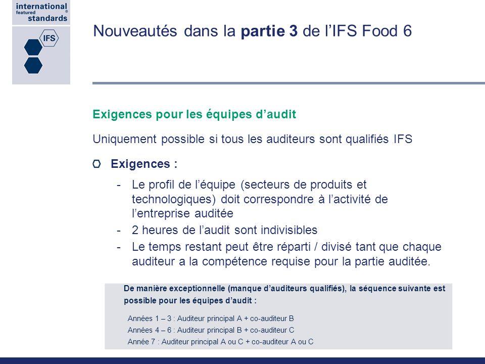Nouveautés dans la partie 3 de l'IFS Food 6