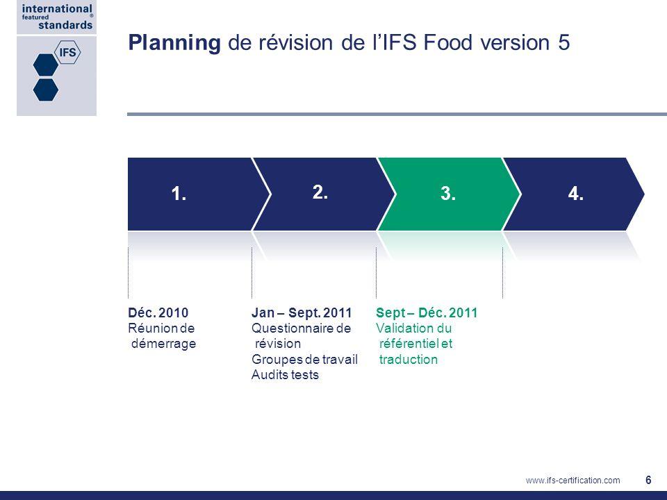 Planning de révision de l'IFS Food version 5