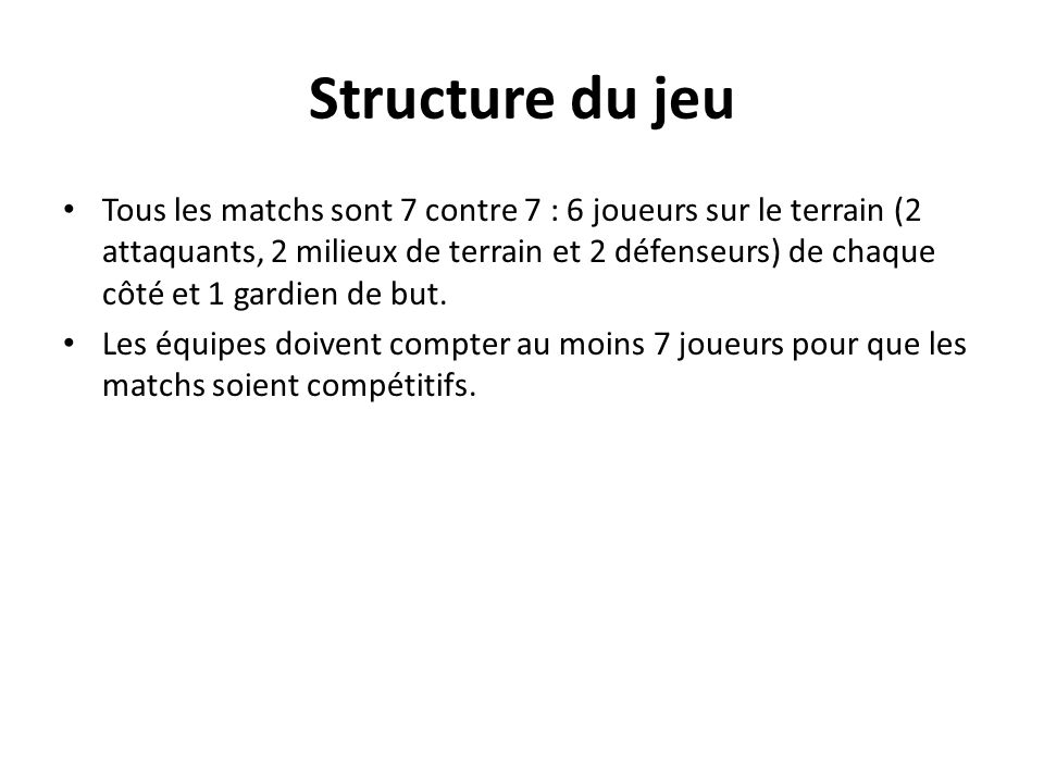 Structure du jeu