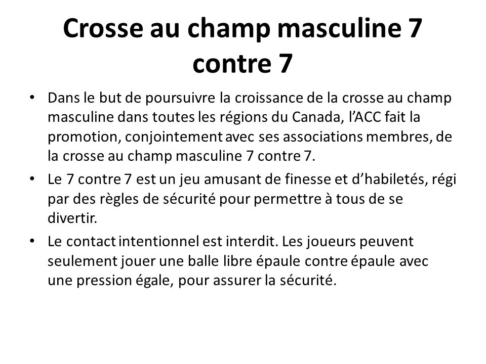 Crosse au champ masculine 7 contre 7