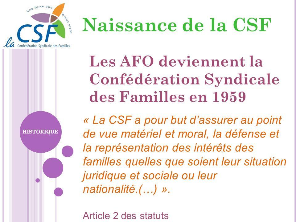 Naissance de la CSFLes AFO deviennent la Confédération Syndicale des Familles en 1959.