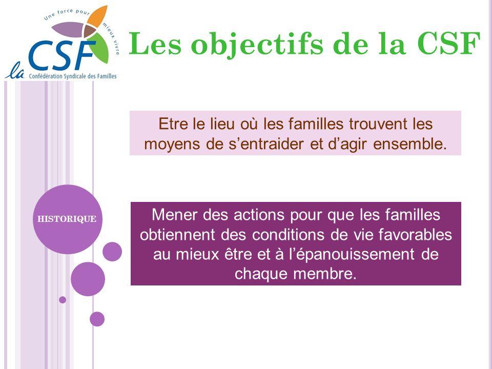 Les objectifs de la CSF Etre le lieu où les familles trouvent les moyens de s'entraider et d'agir ensemble.