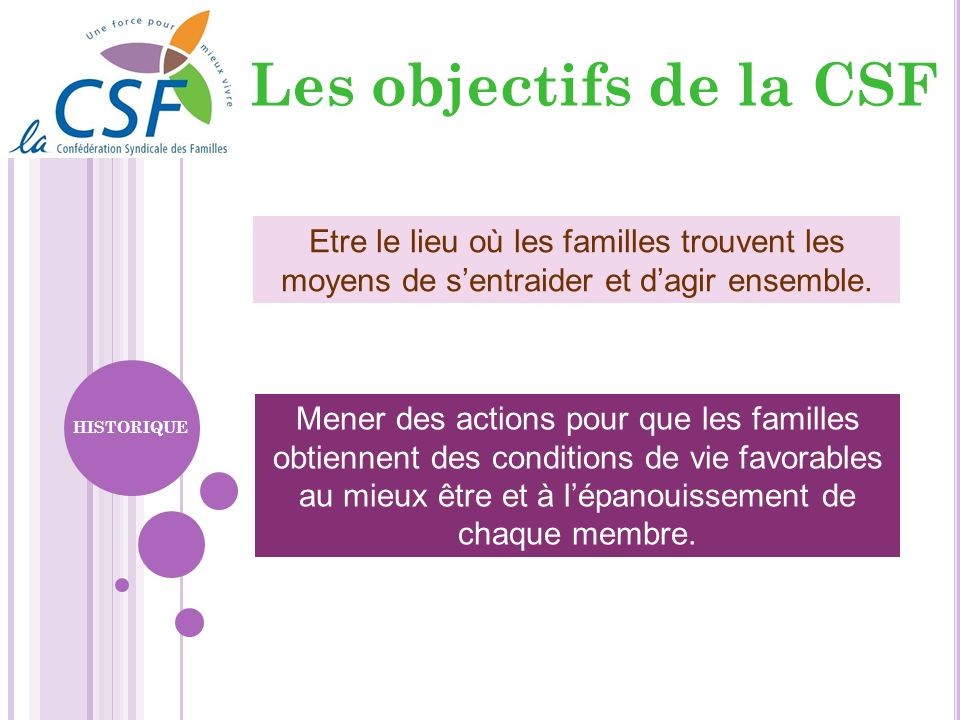 Les objectifs de la CSFEtre le lieu où les familles trouvent les moyens de s'entraider et d'agir ensemble.