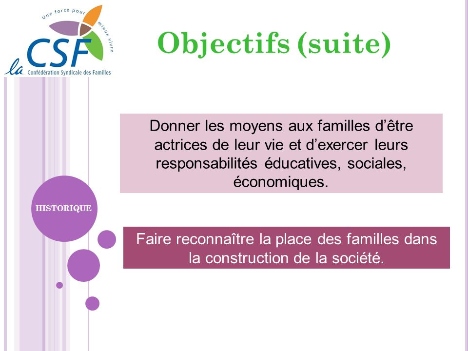 Objectifs (suite)Donner les moyens aux familles d'être actrices de leur vie et d'exercer leurs responsabilités éducatives, sociales, économiques.