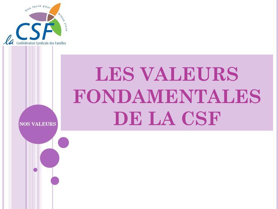 LES VALEURS FONDAMENTALES DE LA CSF