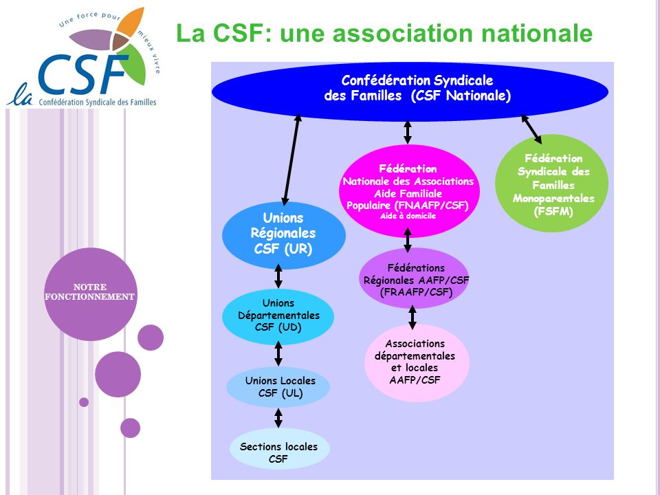 La CSF: une association nationale