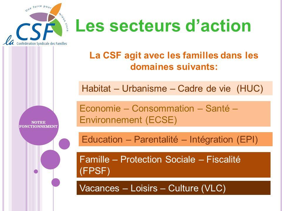 La CSF agit avec les familles dans les domaines suivants: