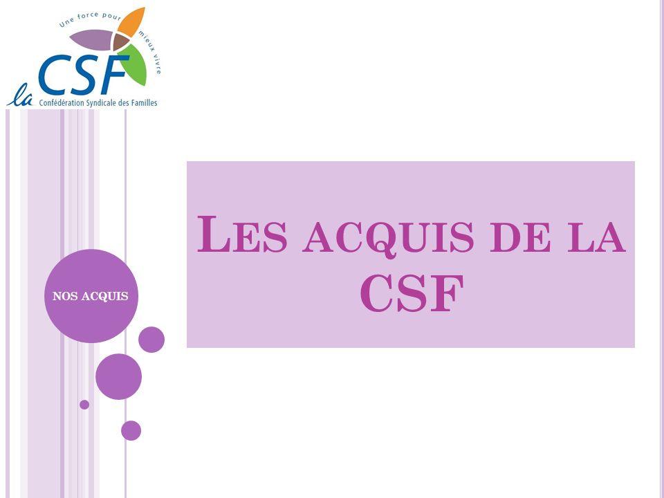 Les acquis de la CSF NOS ACQUIS