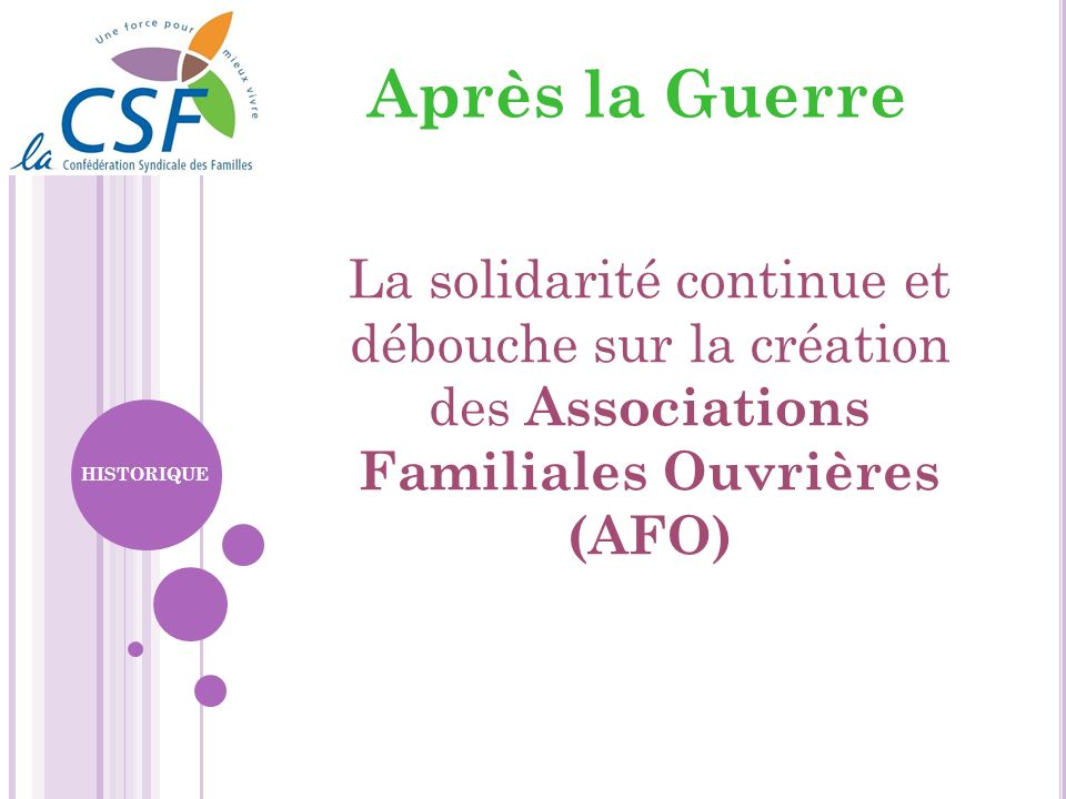 Après la GuerreLa solidarité continue et débouche sur la création des Associations Familiales Ouvrières (AFO)