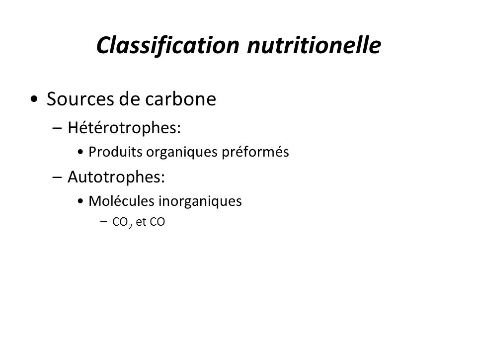 Classification nutritionelle