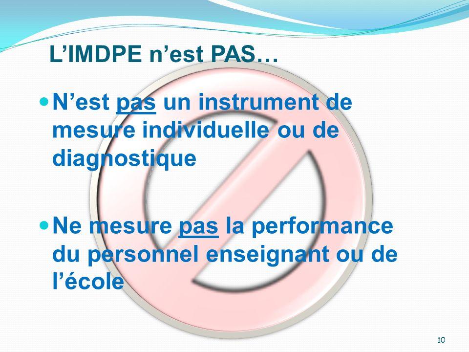 L'IMDPE n'est PAS… N'est pas un instrument de mesure individuelle ou de diagnostique.