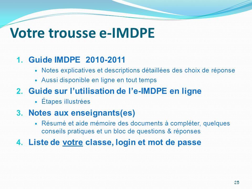 Votre trousse e-IMDPE Guide IMDPE 2010-2011