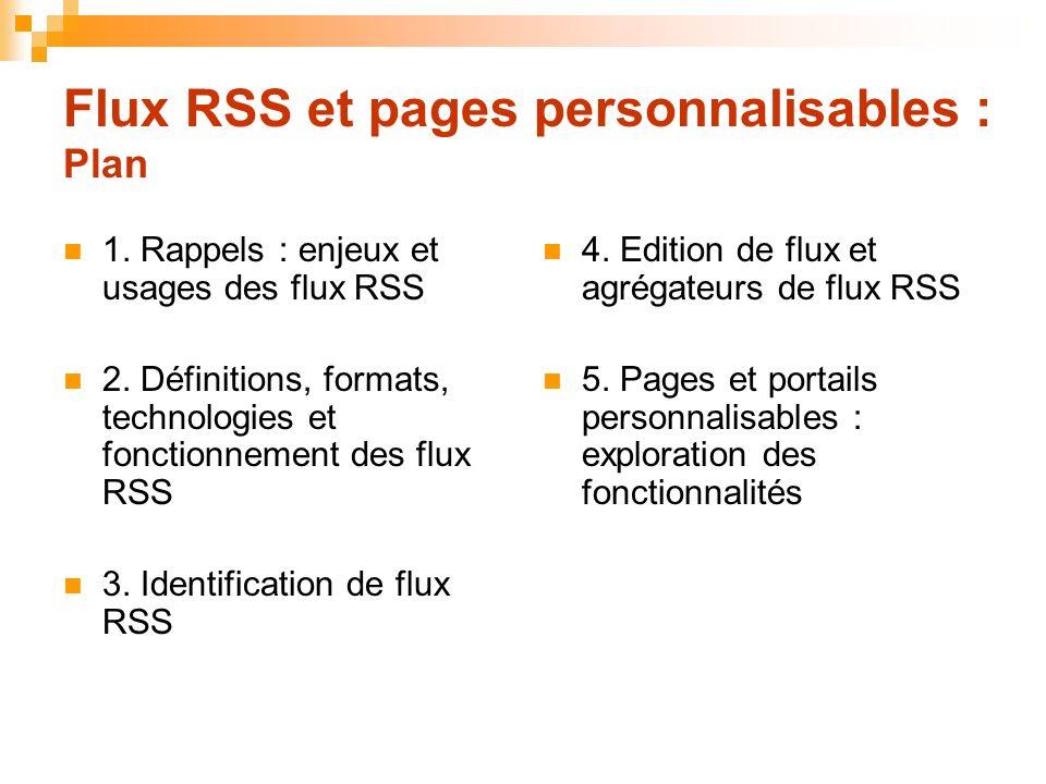 Flux RSS et pages personnalisables : Plan