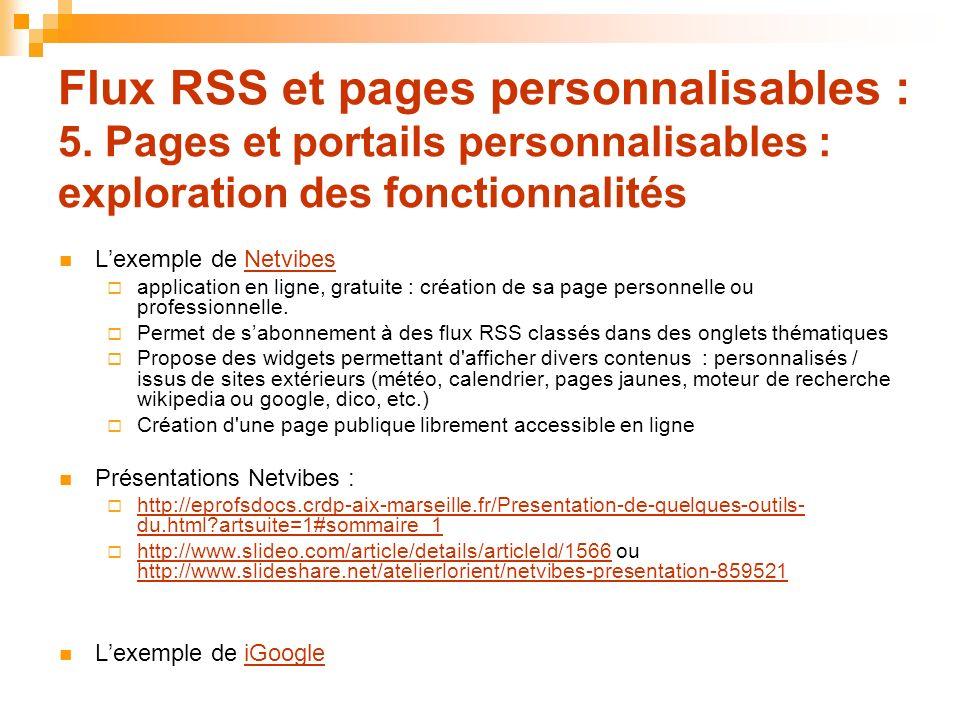Flux RSS et pages personnalisables : 5