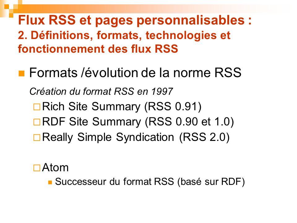 Formats /évolution de la norme RSS Création du format RSS en 1997