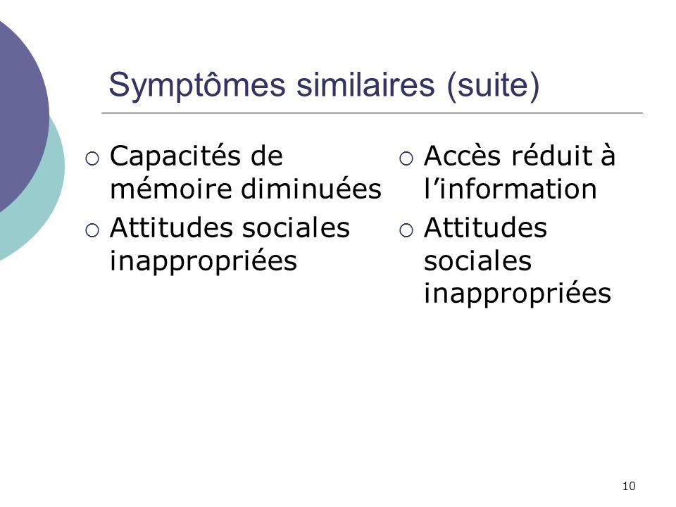 Symptômes similaires (suite)
