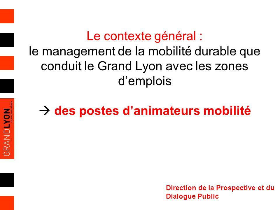 Le contexte général : le management de la mobilité durable que conduit le Grand Lyon avec les zones d'emplois  des postes d'animateurs mobilité