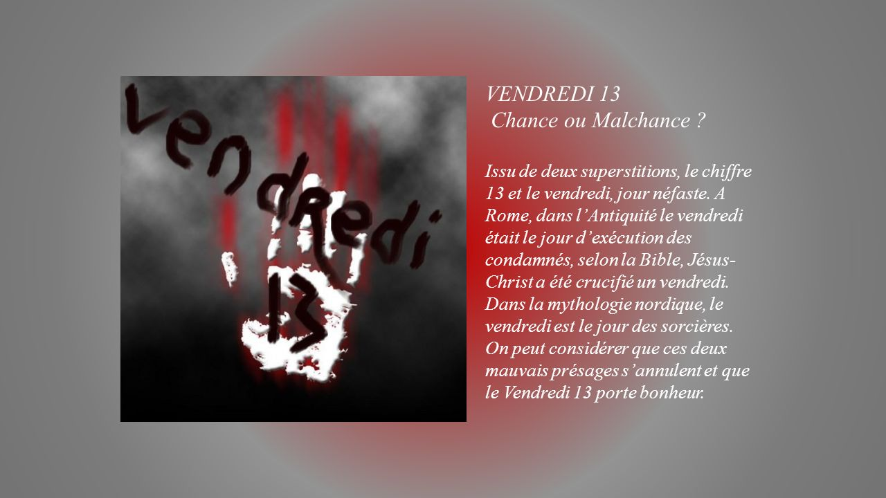 Leurs origines propos es par jackdidier ppt video for Superstition chiffre 13