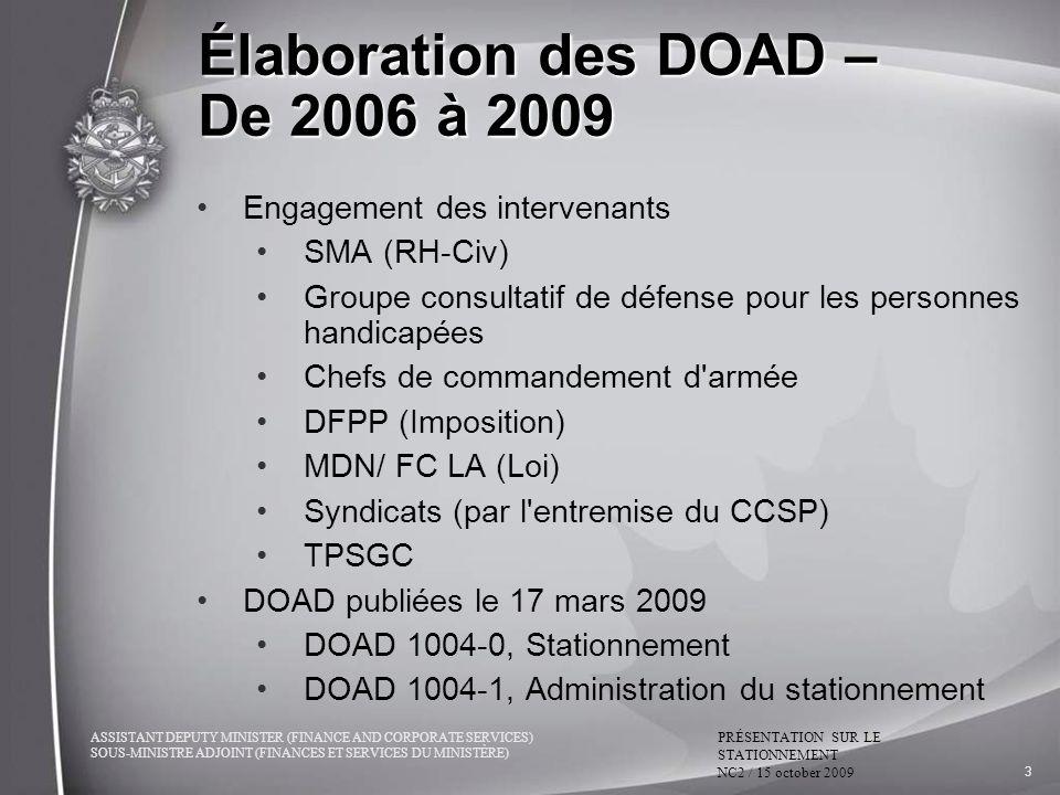 Élaboration des DOAD – De 2006 à 2009