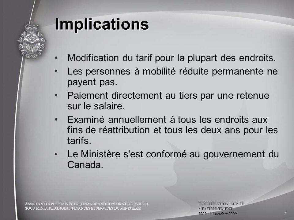 Implications Modification du tarif pour la plupart des endroits.