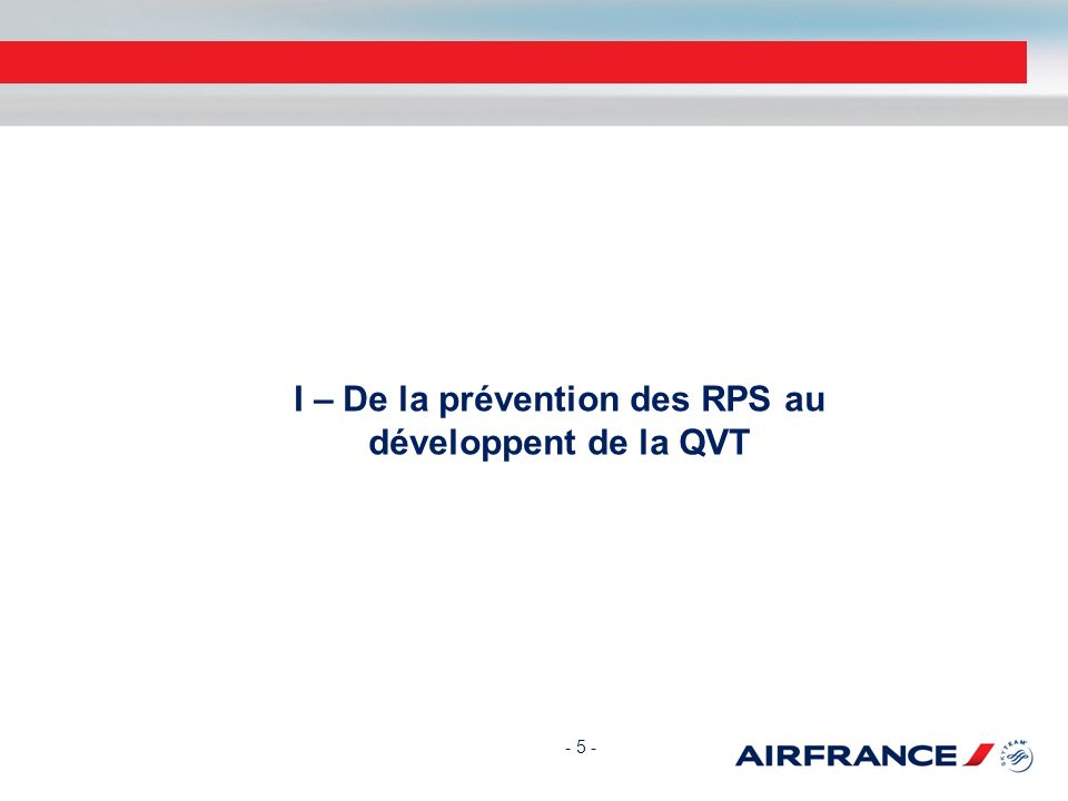 I – De la prévention des RPS au développent de la QVT