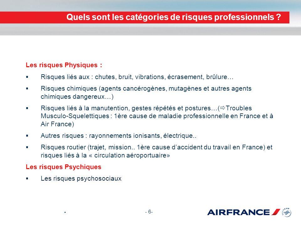 Quels sont les catégories de risques professionnels