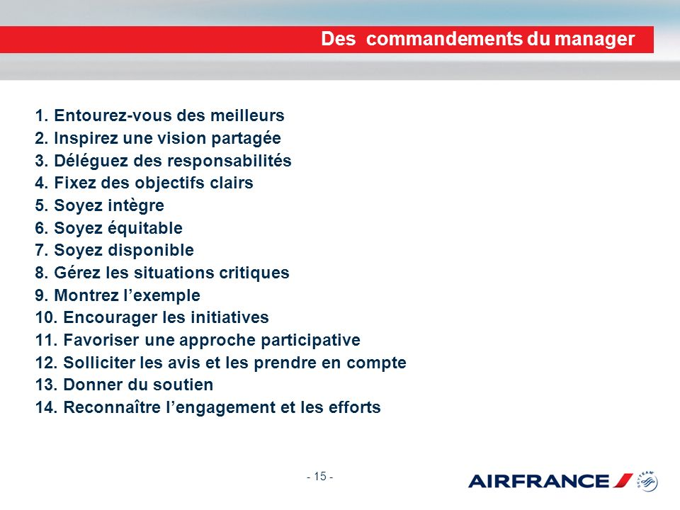 Des commandements du manager