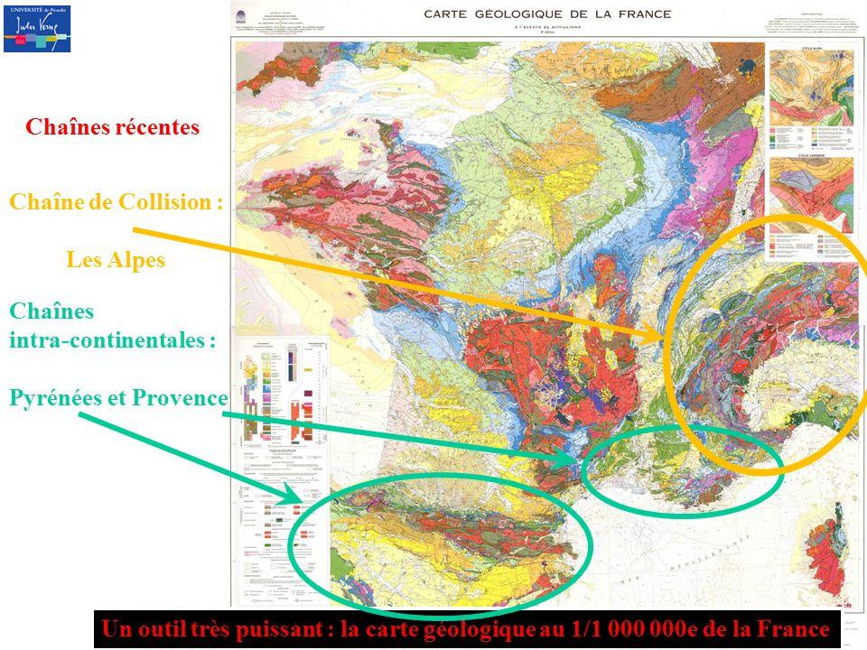Chaînes récentes Chaîne de Collision : Les Alpes. Chaînes. intra-continentales : Pyrénées et Provence.