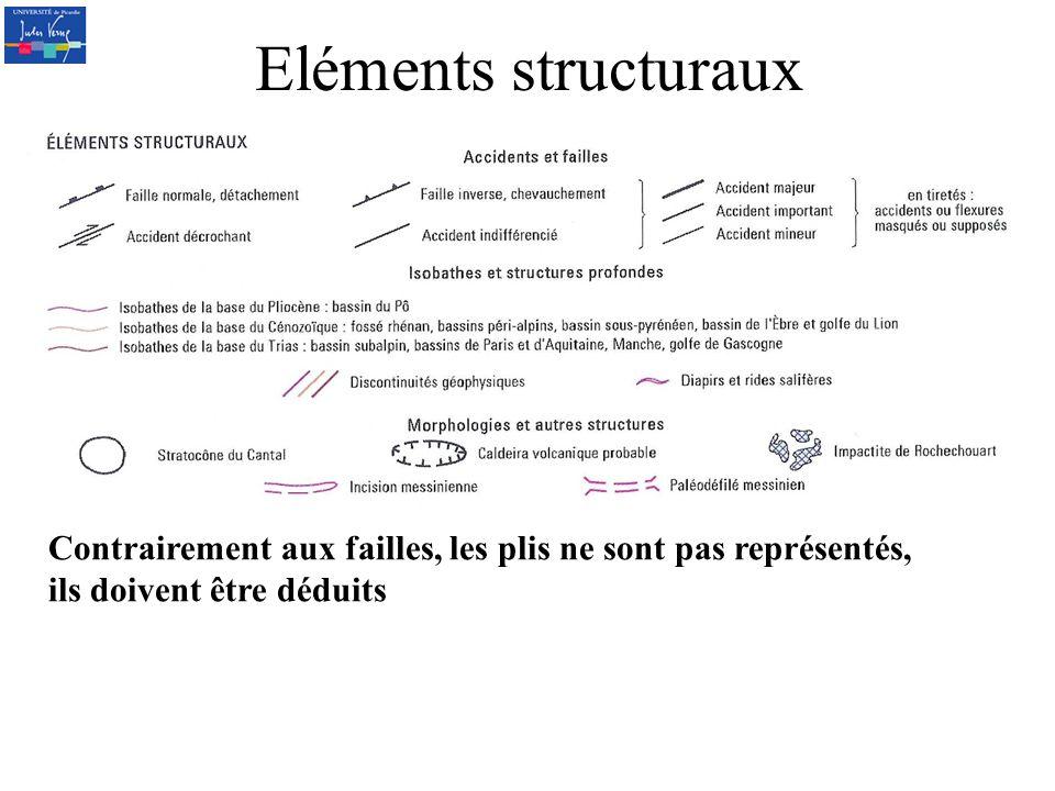 Eléments structuraux Contrairement aux failles, les plis ne sont pas représentés, ils doivent être déduits.