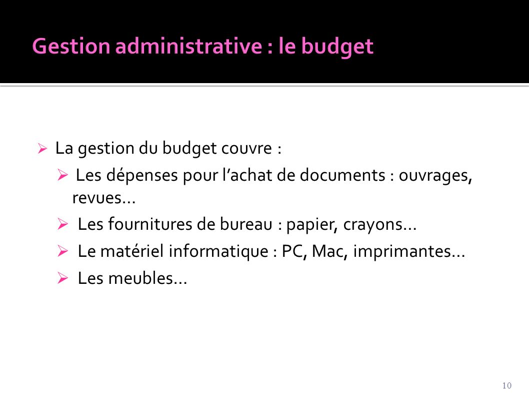 Gestion administrative : le budget