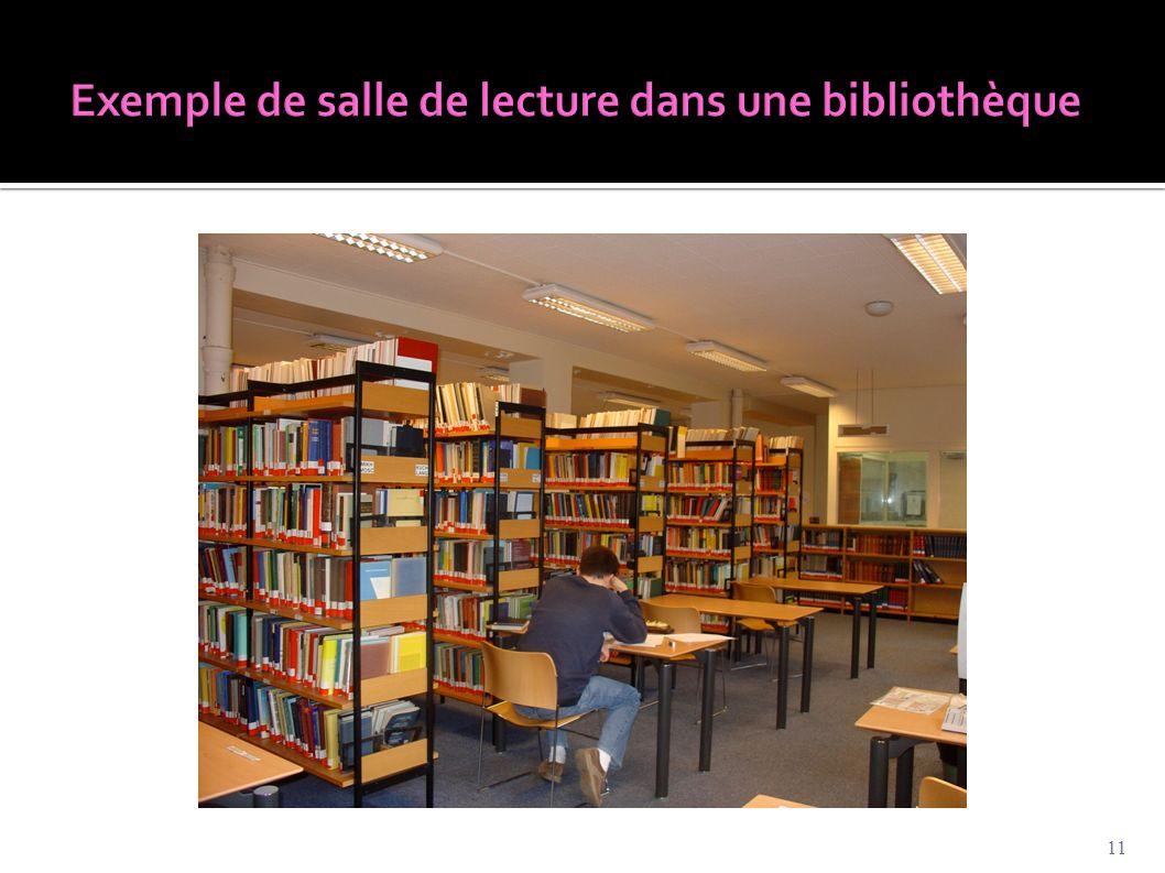 Exemple de salle de lecture dans une bibliothèque