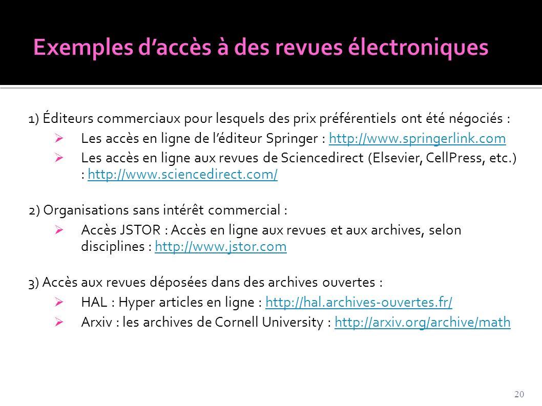 Exemples d'accès à des revues électroniques