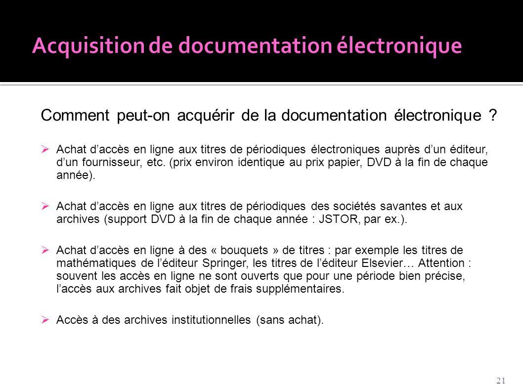 Acquisition de documentation électronique
