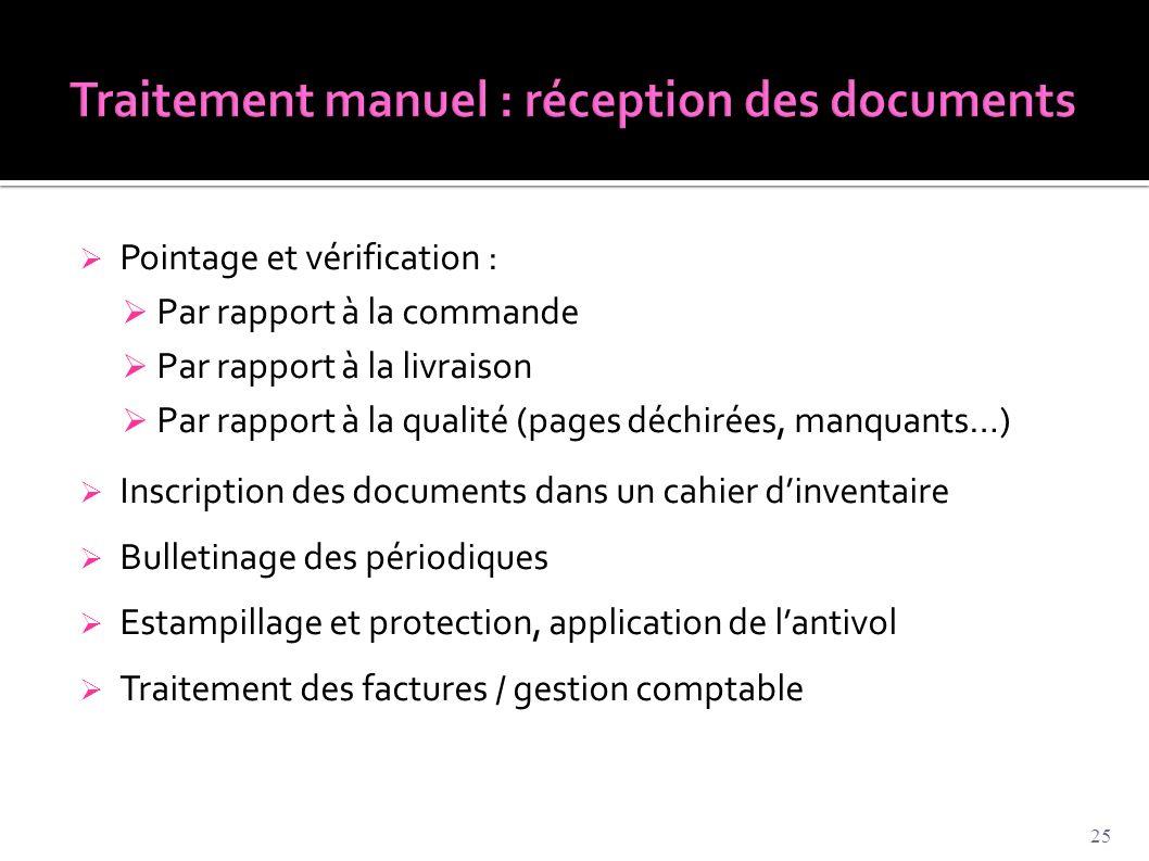 Traitement manuel : réception des documents