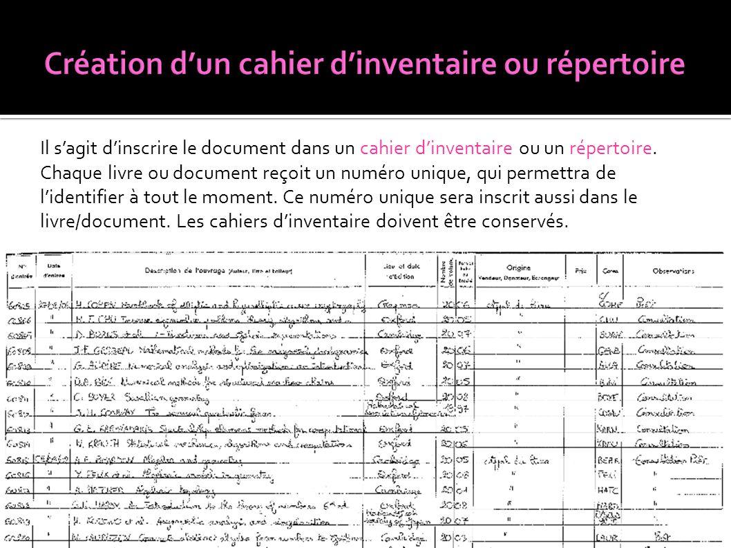 Création d'un cahier d'inventaire ou répertoire