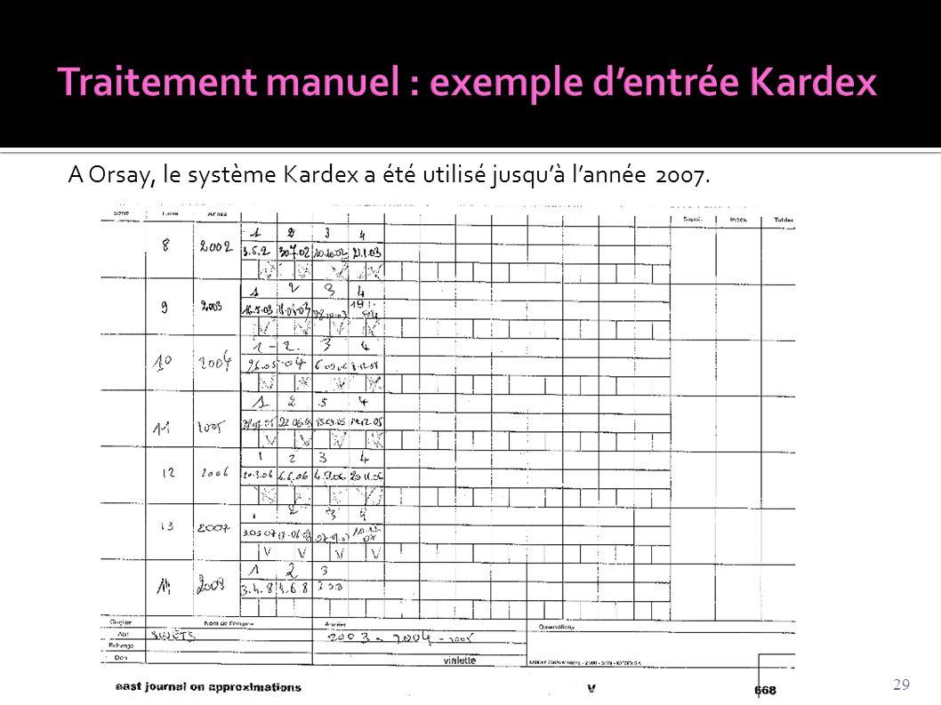 Traitement manuel : exemple d'entrée Kardex